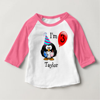 Personalized Cute Funny 3rd Birthday Party Penguin Baby T-Shirt