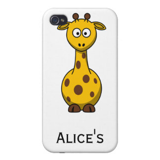 Personalized Cute Giraffe Clipart  Cover For iPhone 4