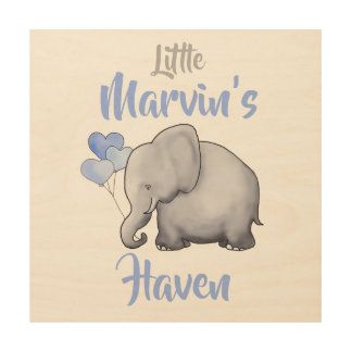 Personalized Cute Gorgeous Elephant Nursery Haven Wood Print