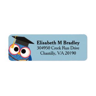 Personalized Cute Graduation Owl - Blue Return Address Label