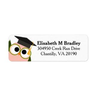 Personalized Cute Graduation Owl - Pink Return Address Label