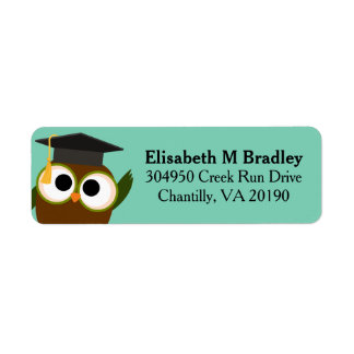 Personalized Cute Graduation Owl Return Address Label