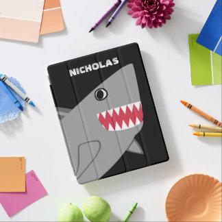 Personalized Cute Gray Shark Kids Modern Fish iPad Cover