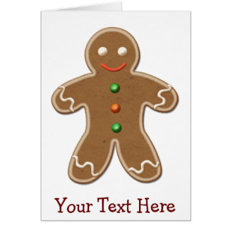 Personalized Cute Holiday Gingerbread Man Greeting Card