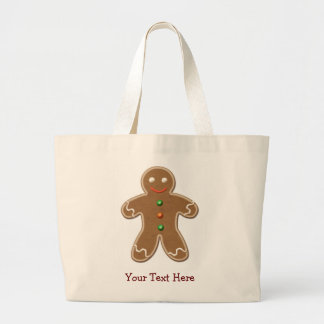 Personalized Cute Holiday Gingerbread Man Large Tote Bag