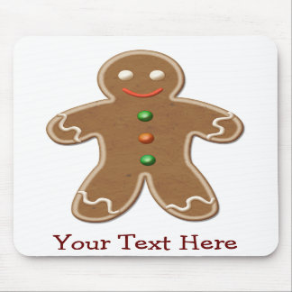 Personalized Cute Holiday Gingerbread Man Mouse Pad