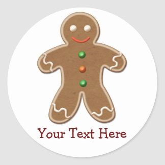 Personalized Cute Holiday Gingerbread Man Round Sticker