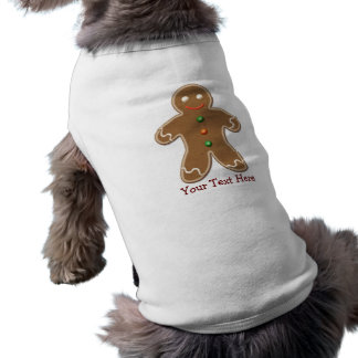 Personalized Cute Holiday Gingerbread Man Sleeveless Dog Shirt