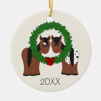 Personalized Cute Horse Couple Christmas Wreath Christmas Ornament