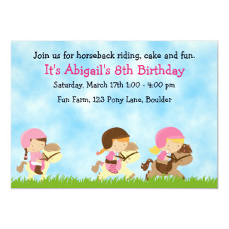 Personalized Cute Horseback Riding Girls Birthday 13 Cm X 18 Cm Invitation Card