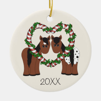 Personalized Cute Horses First Christmas Together Round Ceramic Decoration