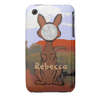 Personalized cute kangaroo face iPhone 3 case
