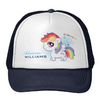 Personalized cute kawaii rainbow pony with stars cap