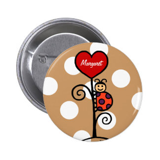 Personalized Cute LadyBug drawing 6 Cm Round Badge