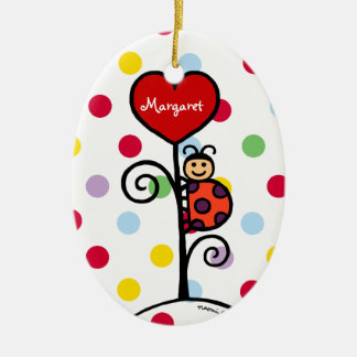 Personalized Cute LadyBug drawing Christmas Ornament