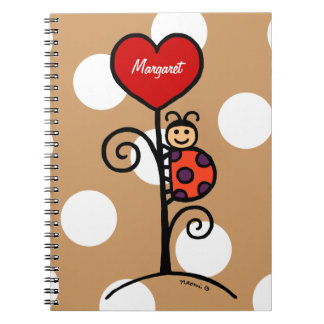 Personalized Cute LadyBug drawing Spiral Notebook