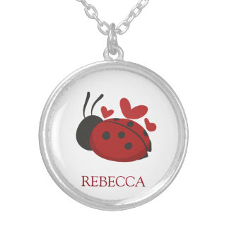 personalized cute ladybug silver plated necklace