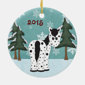 Personalized Cute Leopard Appaloosa Horse Snowy Christmas Ornament