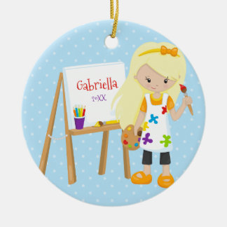 Personalized Cute Little Artist Christmas Ornament