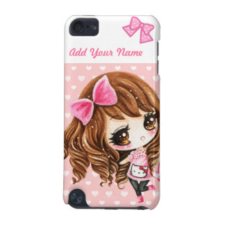 Personalized - Cute little girl with big pink bow iPod Touch (5th Generation) Cases