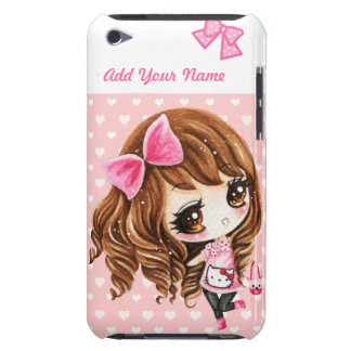 Personalized - Cute little girl with big pink bow iPod Touch Case-Mate Case