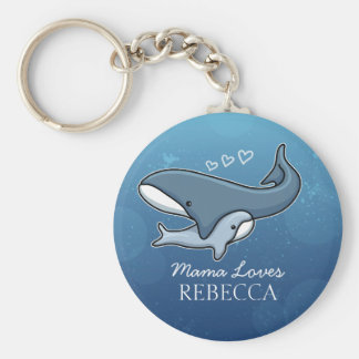 Personalized Cute Mom Baby Whale, Add Kids Name Basic Round Button Key Ring