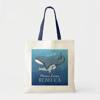 Personalized Cute Mom Baby Whale, Add Kids Name Budget Tote Bag