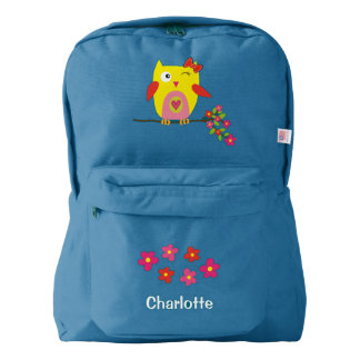 Personalized Cute Owl Yellow Pink Illustration Backpack