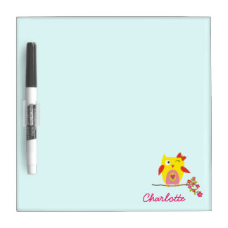 Personalized Cute Owl Yellow Pink Illustration Dry Erase Board