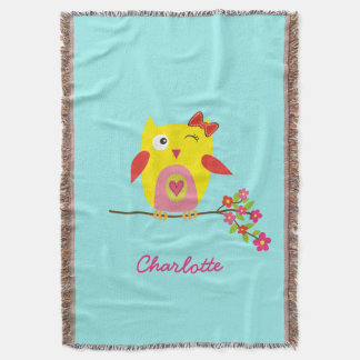 Personalized Cute Owl Yellow Pink Illustration Throw Blanket