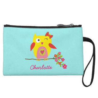 Personalized Cute Owl Yellow Pink Illustration Wristlet