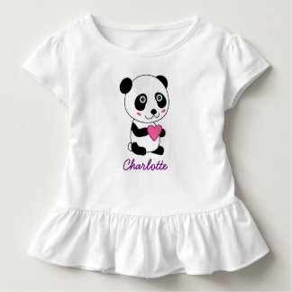 Personalized Cute Panda with a Pink Heart Toddler T-Shirt