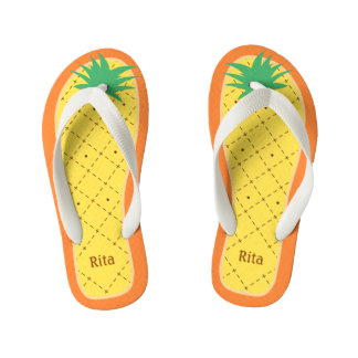 Personalized Cute Pineapple Funny Tropical Fruit Flip Flops