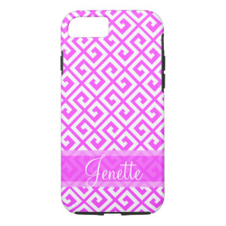 Personalized Cute Pink and White Greek Key iPhone 7 Case