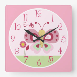 Personalized Cute Pink Butterfly Nursery Clock
