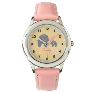 Personalized cute pink grey elephant girls watch