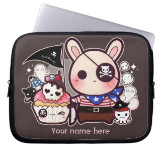 Personalized - Cute pirate bunny with cupcake Laptop Sleeve