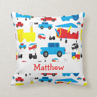 Personalized Cute Planes, Trains and Cars Collage Cushion