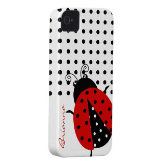 Personalized Cute Polka Dot Red Ladybug Case-Mate iPhone 4 Case
