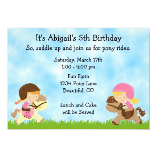 Personalized Cute Pony Party Girls Horse Birthday 13 Cm X 18 Cm Invitation Card