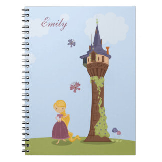 Personalized cute rapunzel and tower notebook