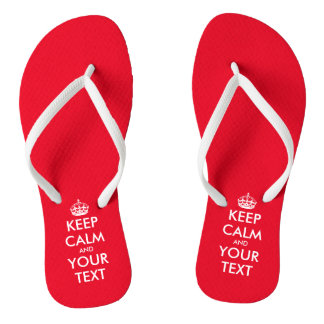 Personalized cute red Keep calm beach flip flops