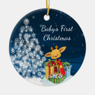 Personalized Cute Reindeer Baby's First Christmas Christmas Ornament