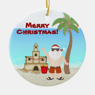 Personalized Cute Santa Beach Merry Christmas Christmas Ornament