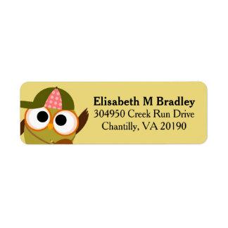 Personalized Cute School Owl Student Return Address Label