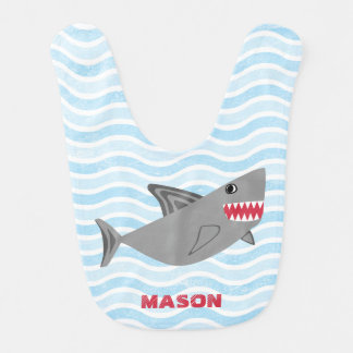 Personalized Cute Shark Blue Waves Baby Bibs
