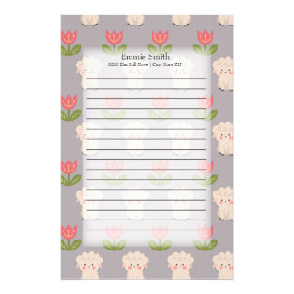 Personalized Cute Sheep and Pink Flowers on Gray Stationery