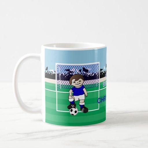Personalized cute soccer boy mugs