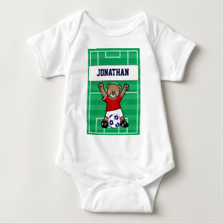 Personalized Cute Soccer Teddy Bear (red) Baby Bodysuit