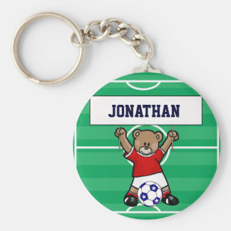 Personalized Cute Soccer Teddy Bear (red) Basic Round Button Key Ring